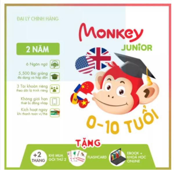 Bảng giá Monkey Junior 2 năm - Phần mềm đa ngôn ngữ cho trẻ em Phong Vũ
