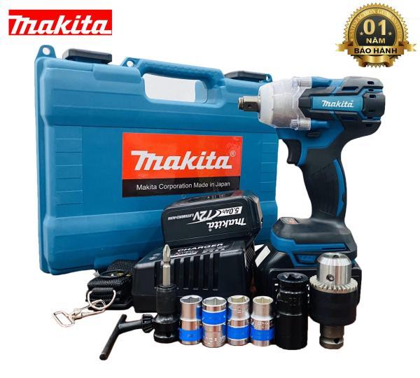 Máy siết bulong Makita không chổi than 72V có đồ - Bộ sản phẩm đầy đủ:máy,pin,sạc, đầu siết 22, đầu chuyển vít,dây đeo,hộp nhựa, 4 đầu khẩu,1đầu chuyển vít,1 đàu chuyển khoan