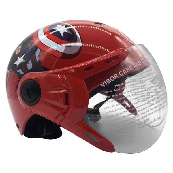 Giá bán Mũ Bảo Hiểm Trẻ Em 1/2 Đầu Có Kính Protec KITTY, Họa Tiết Đội Trưởng Mỹ Captain American Mạnh Mẽ - PROTEC HELMET