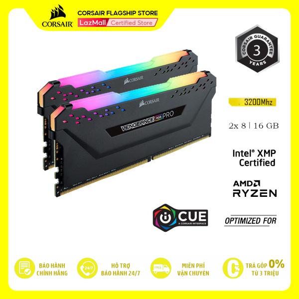 Bảng giá RAM PC Corsair DDR4, 3200MHz 16GB 2 x 288 DIMM Vengeance RGB PRO black Heat spreader RGB LED CMW16GX4M2E3200C16 Phong Vũ