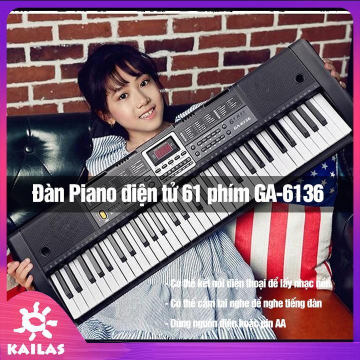 Đàn Piano Điện Tử 61 Phím Cao Cấp, Đàn Organ Điện Tử - Kèm Mic Dành- Cho Trẻ Và Người Mới Tập Đàn, Kích Thích Trí Thông Minh- Kailas