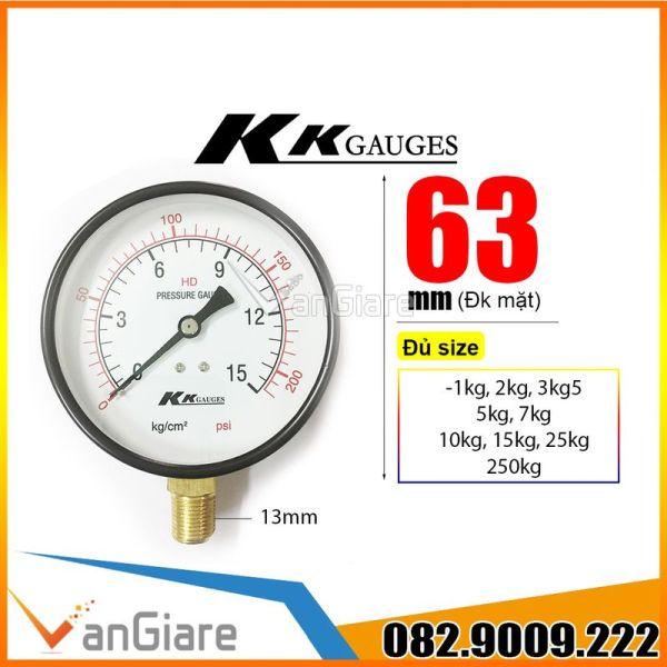 Bảng giá Đồng hồ đo áp suất nước khí hơi KK Gauge (mặt 63mm) 1kg 2kg 3.5kg 5kg 10kg 15kg 25kg 50kg 250kg