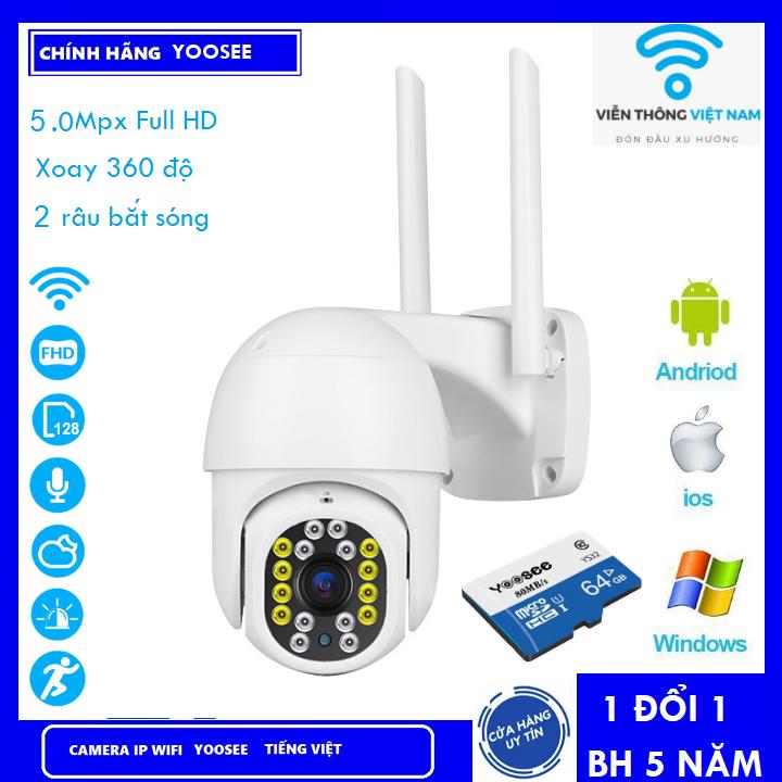 ( Combo Camera Thẻ 128GB Yoosee Bảo Hành 60 Tháng ) Camera wifi Ptz  Xoay 360 Độ chuẩn 5.0 dùng ngoài trời - trong nhà mpx full hd 1080p - hỗ trợ 8 đèn hồng ngoại và 8 đèn led + tặng thẻ xịn 128 yoosee cho mã 620k và không thẻ với mã 520