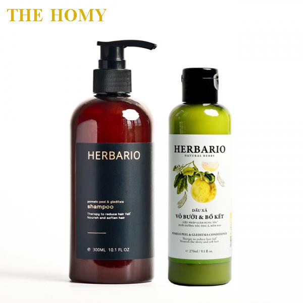 [ GIÚP TÓC CHẮC KHỎE ] Bộ đôi Dầu Gội + Dầu Xả vỏ bưởi và Bồ Kết Herbario giúp chăm sóc tóc hư tổn, giảm rụng tóc, suôn mượt giá rẻ