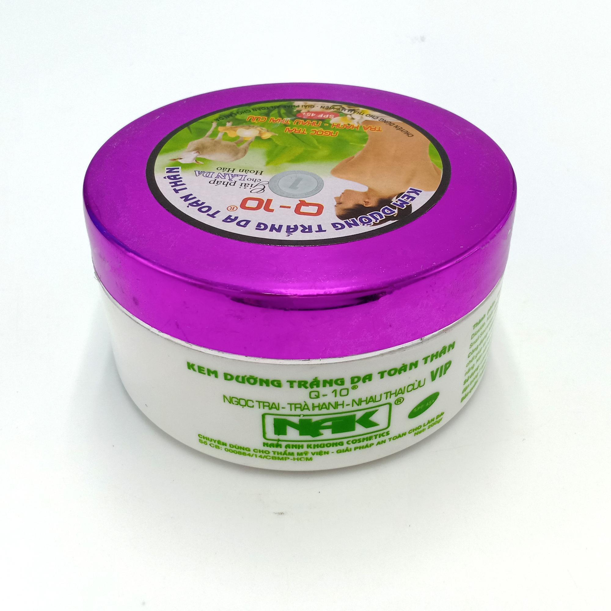 Kem dưỡng trắng da toàn thân Ngọc trai - Trà xanh - Nhau thai cừu Q10 200g (Tím - Trắng)