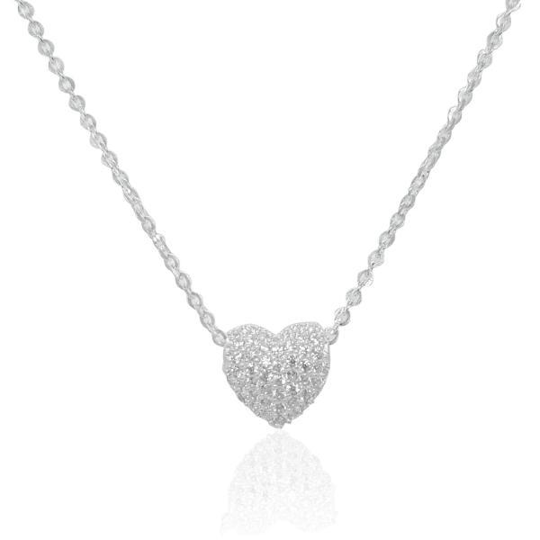 Dây chuyền bạc thật- Mặt dây chuyền hai mặt xuyên tim (TS-DC-A21)