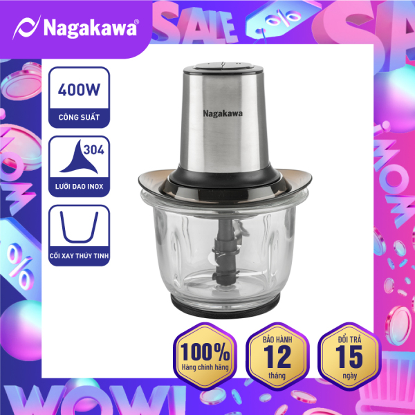 Máy Xay Thịt Nagakawa NAG0812 - 2 chế độ xay - Công suất 400W - Dung tích 1.5 Lít - Trục lưỡi dao Inox chống va đập và mài mòn - Bảo hành 12 tháng - Hàng Chính Hãng
