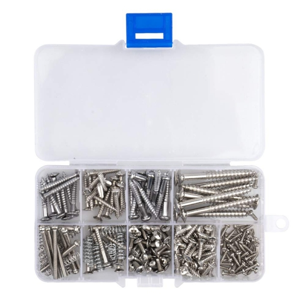 204 Pcs Guitar Screw Kit 9 Types Assortment Set with Springs for Electric Guitar Bridge Pickup Pickguard Tuner Switch Neck Plate