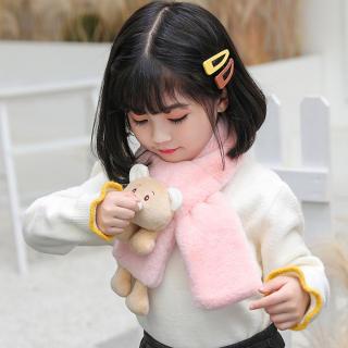 Mùa Đông Mùa Thu Ấm Cô Gái Khăn Quàng Cổ Gấu Lông Thỏ Giả Bằng Vải Nhung Lông Cho Bé Trai Trẻ Em Khăn Cổ Hâm Nóng