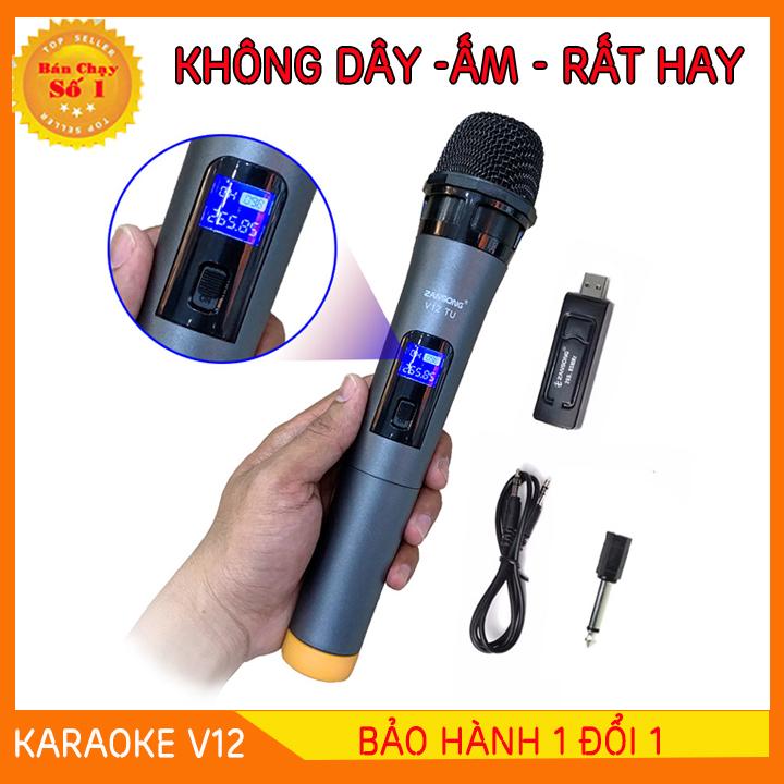 [HÀNG XỊN] Micro Karaoke V12 không dây cho loa kéo, loa karaoke, loa bluetooth Zangsong V12 màn hình LCD (đen) - Hỗ trợ các thiết bị có jack cắm 3.5mm và 6.5mm