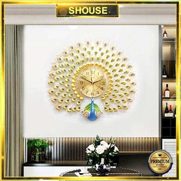 Đồng Hồ Treo Tường S-A25 Trang Trí Con Công chim khổng tước đẹp độc lạ hiện đại cao cấp cỡ lớn 3d phù hợp phòng khách, phòng ngủ