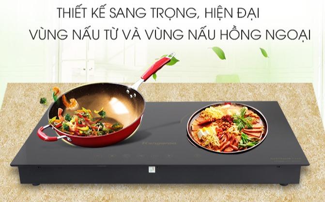 Bếp đôi từ hồng ngoại Kangaroo KG499N,mới 100%-oại bếp:  Bếp từ hồng ngoại Mặt bếp:  Kính chịu nhiệt Bảng điều khiển:  Cảm ứng Loại nồi nấu:  Vùng từ sử dụng nồi có đáy nhiễm từ, vùng hồng ngoại không kén nồi Tính năng an toàn:  Tự ngắt khi bếp nóng quá t