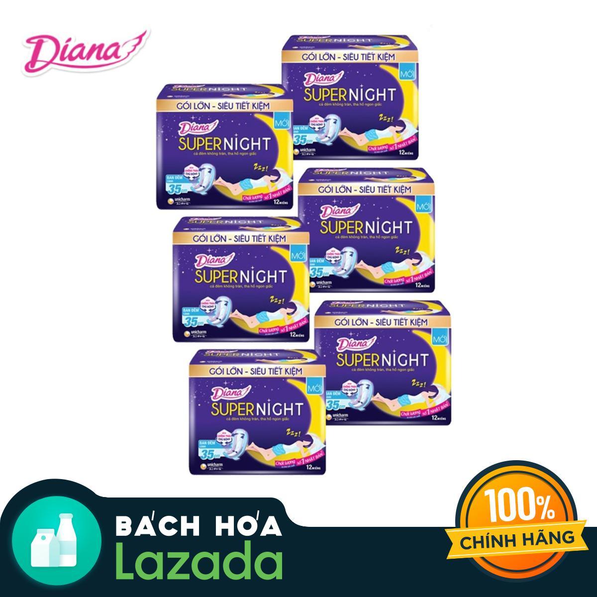 Bộ 6 gói Băng vệ sinh Diana SUPER NIGHT 29cm Gói 4 miếng nhập khẩu