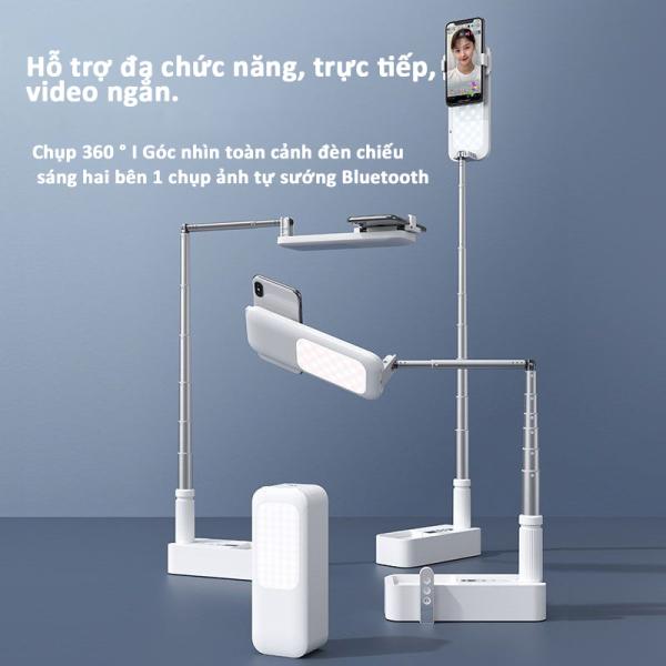 Giá đỡ điện thoại di động đa năng USAMS gọn gàng, tiện lợi, có đèn Led trợ sáng giúp quay phim cao cấp-