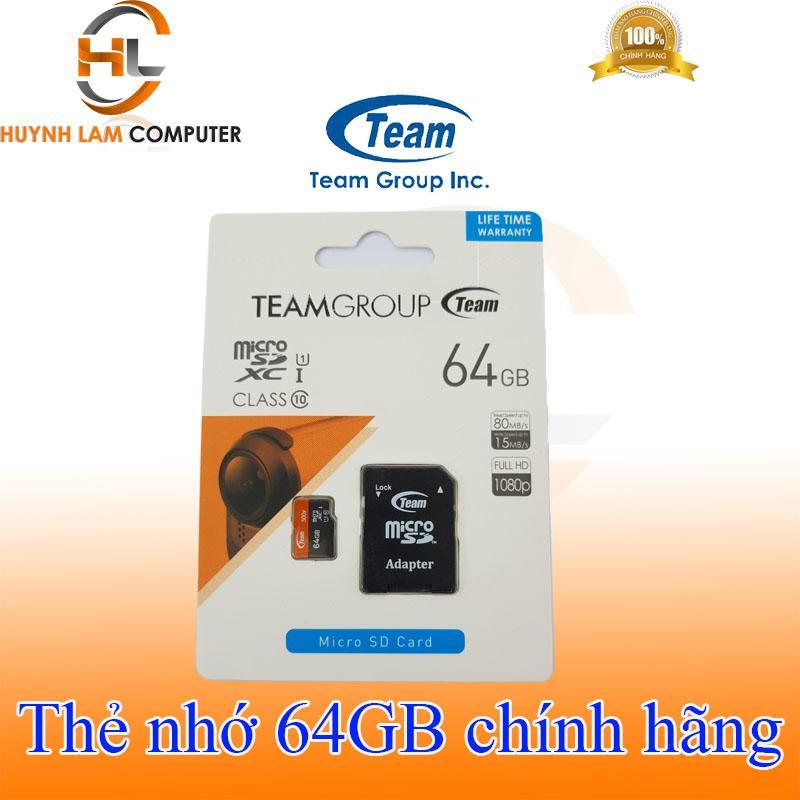 Thẻ nhớ 64gb - Thẻ nhớ 64gb Team Class10 tốc độ 80/15Mbs Phúc Thịnh phân phối