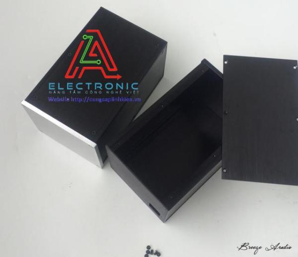 Vỏ hộp nhôm DIY BRZHiFi 1614 161x140x251mm thân đen