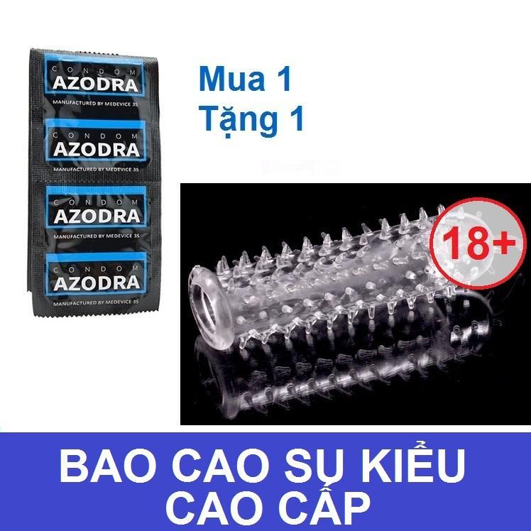 Bộ 1 chiếc Bao cao su gân gai kéo dài thời gian AZODRA tặng 1 bcs kiểu dùng nhiều lần nhập khẩu