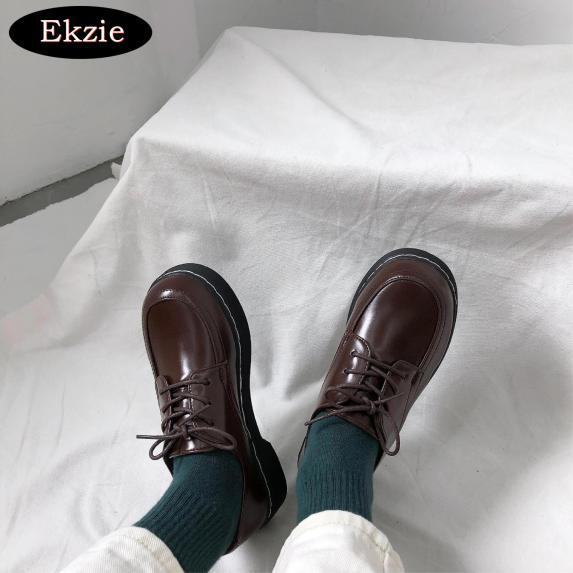 2021 mới Nhật Bản retro nữ giày bệt sinh viên Harajuku đầu tròn giày búp bê phong cách hoang dã phong cách Hàn Quốc đại học phong cách Anh giày da nhỏ giá rẻ