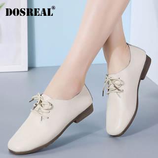Dosreal Phụ Nữ Giày Oxford Căn Hộ Da Giày Đối Với Thời Trang Nữ Hàn Quốc Phẳng Giản Dị Giày Cột Dây Giày Trắng Phụ Nữ Giày