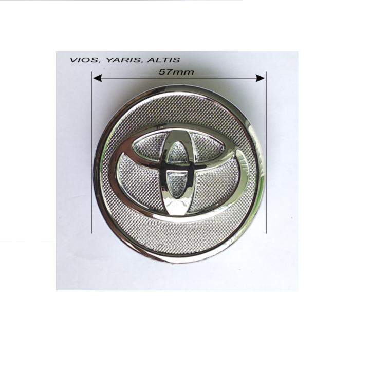 Logo chụp mâm, Lazang bánh xe ô tô Toyota đường kính 57mm dùng cho xe Vios, Yaris và Altis ( Màu bạc)