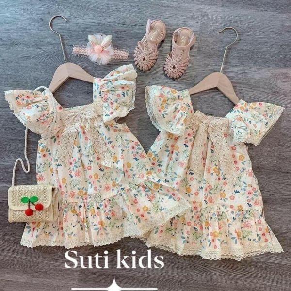 Giá bán Váy cánh tiên hoa nơ ren cho bé gái