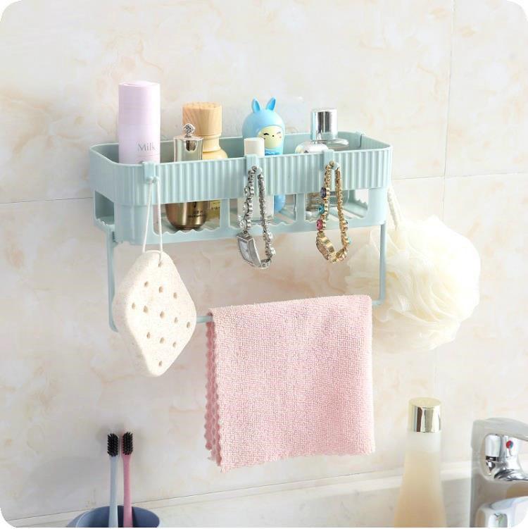 Kệ để đồ nhà tắm có móc treo khăn dán tường đa năng (Màu ngẫu nhiên)