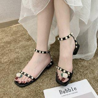 dép sandal nữ đi học cấp 3 giá rẻ quai mảnh đính hột xỏ ngón dứa - G610 thumbnail