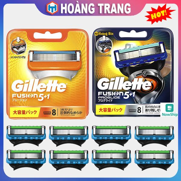 Hộp 8 đầu lưỡi thay thế dao cạo râu Gillette Fusion Proglide 5+1 Nhật Bản, lưỡi kép kèm chất bôi trơn dùng cho tất cả các dòng dao cạo Gillette Fusion