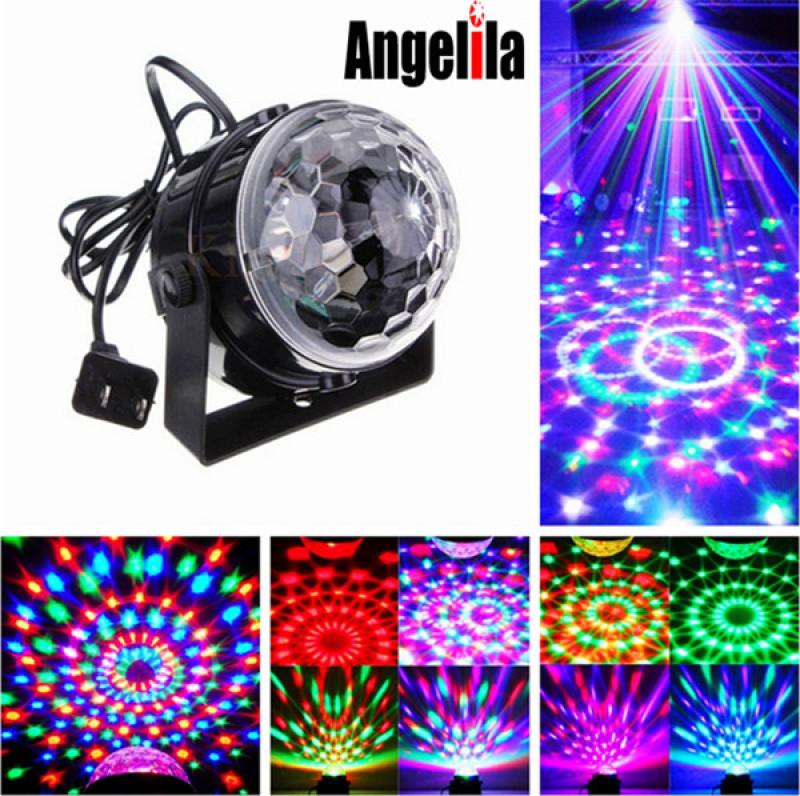 Angelila Âm thanh được kích hoạt Đèn vũ trường xoay DJ Ánh sáng tiệc 3W Đèn sân khấu LED đầy màu sắc cho lễ hội Mừng sinh nhật đám cưới