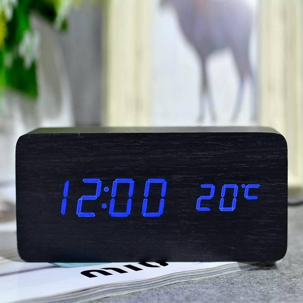 Đồng hồ để bàn đèn led khối gỗ chữ nhật siêu đẹp ( báo thức + đo nhiệt độ) bán chạy