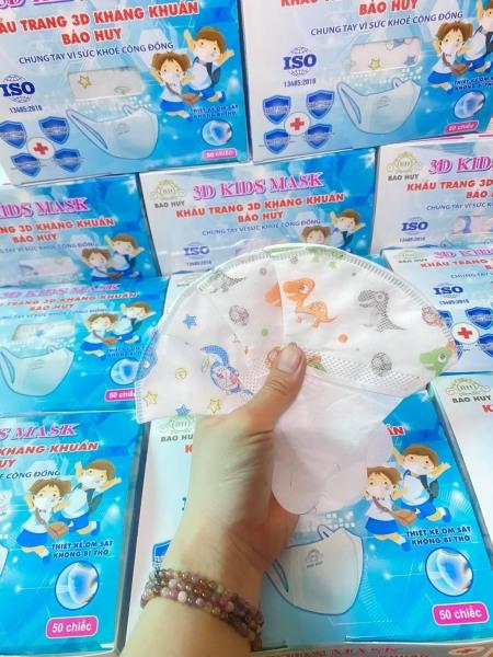 Hộp 50 Cái Khẩu Trang Em Bé 3D In Hình BẢO HUY Kháng Khuẩn, yên tâm cho bé dùng mùa dịch