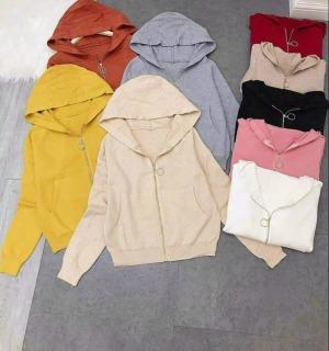 Áo khoát len khóa tròn có nón to hàng Quảng châu chất bao xịn xò CH thumbnail