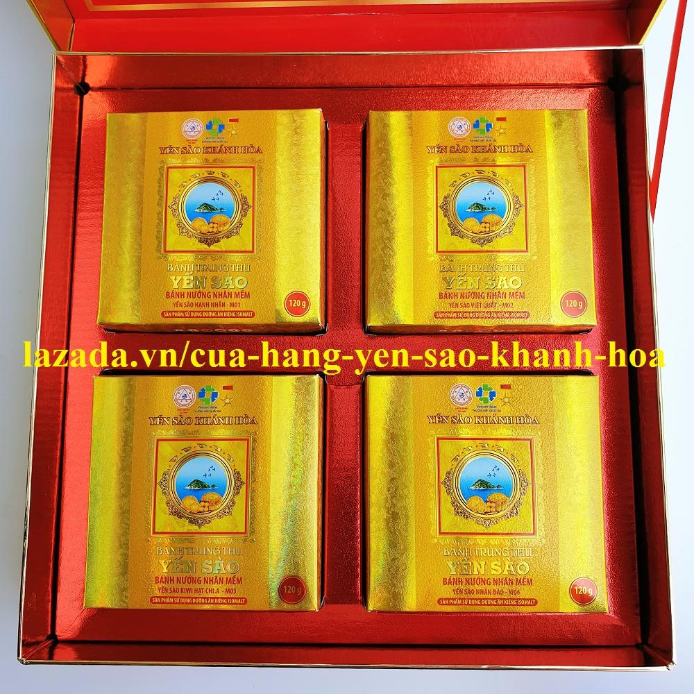 Bánh Trung Thu Yến Sào Khánh Hòa hộp 4 bánh nướng nhân mềm 120g