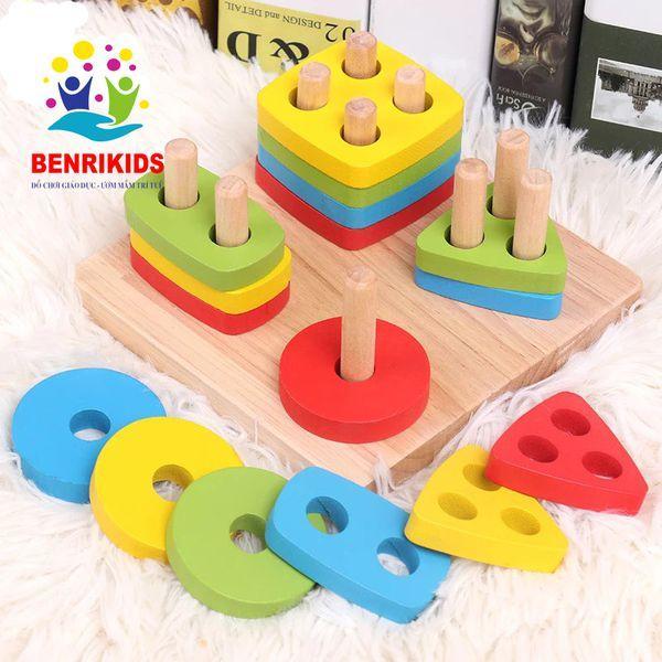 Đồ Chơi Montessori Bảng Chuỗi Thả Hình Bằng Gỗ Giúp...