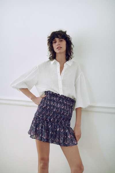 Áo Sơ Mi Nữ Zara Textured Weave Blouse Oyster White