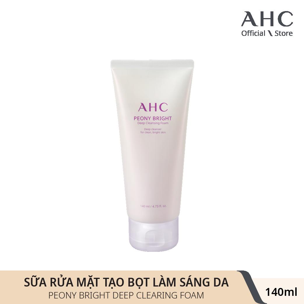 Sữa Rửa Mặt Làm Sáng Da AHC Peony Bright Deep Cleansing Foam 140ml