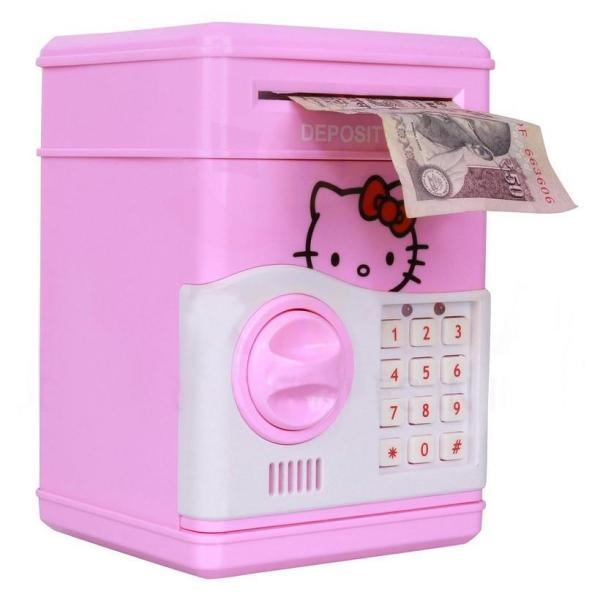 Két sắt mini đựng tiền thông minh cho bé ( màu hồng )