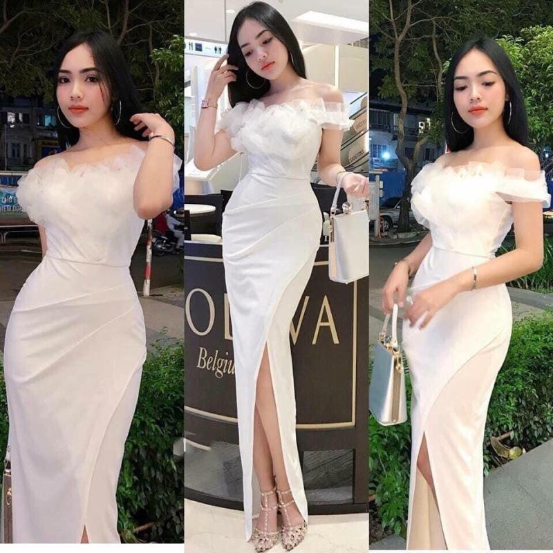 Mua Đầm Ôm Body Xẻ tà kết bông phần ngực