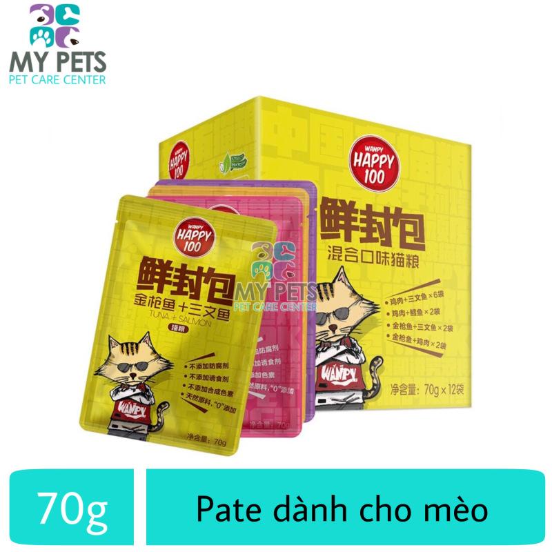 Thức ăn ướt pate / xốt Wanpy happy 100 dành cho mèo lớn - Gói 70g