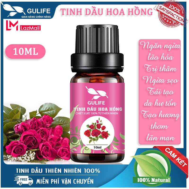 [ Nguyên Chất ] Tinh Dầu Hoa Hồng Gulife 10ml - Chiết Xuất 100% Từ Thiên Nhiên - Nhiều Công Dụng Tốt Cho Sức Khỏe - Rose Flower Oil 100% Nature
