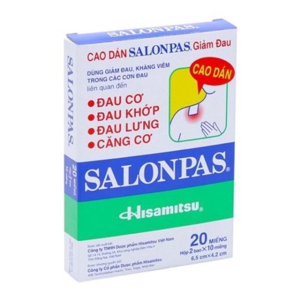 Cao dán Salonpas giảm đau - Hộp 20 miếng cao cấp