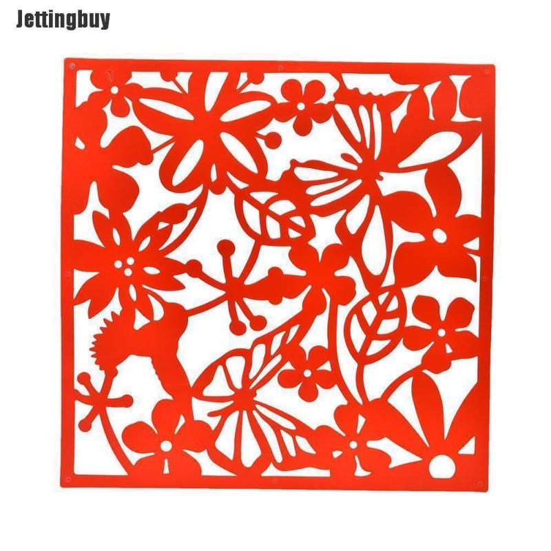 Jettingbuy 1 X PC Màn Hình Treo Vách Ngăn Phòng Chia Bướm Hoa Tường Nhà Sticker Đen Phong Cách: Rỗng-Đen