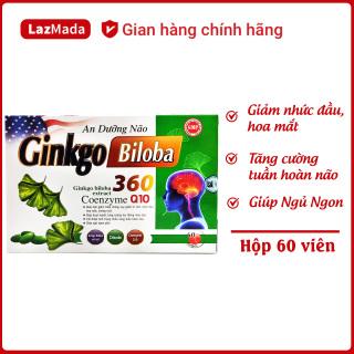 Viên uống An Dưỡng Não Ginkgo Biloba - Hộp 60 viên - Giảm nhức đầu, chóng mặt, rối loại tiền tình hiệu quả - Thành phần thảo dược an toàn tuyệt đối cho giấc ngủ ngon thumbnail