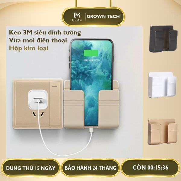 Giá đỡ điện thoại thông minh dán tường GrownTech, kệ đựng remote điều khiển có sẵn miếng dán tường 3M siêu dính