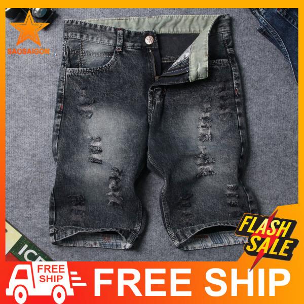 Quần short jean nam đen bạc vải dày rách chất SG415 Saosaigon  quần nam  quần short nam