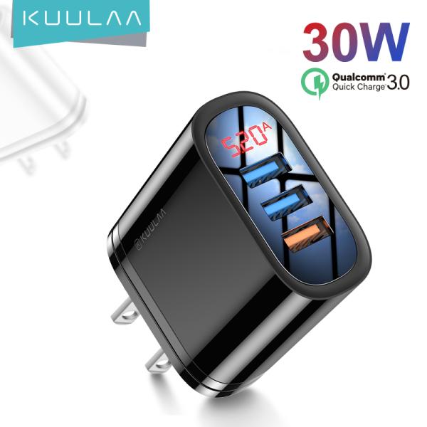 KUULAA Cốc sạc nhanh 3.0 đa năng đầu cắm USB QC30 QC công suất 18W+12W giắc cắm EUdùng cho điện thoại IPhone Samsung Xiaomi Huawei - INTL
