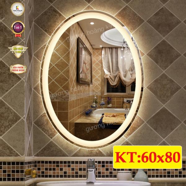 gương oval treo tường decor có đèn led cảm ứng 3 chạm kích thước 60x80 cm - guonghoangkim mirror