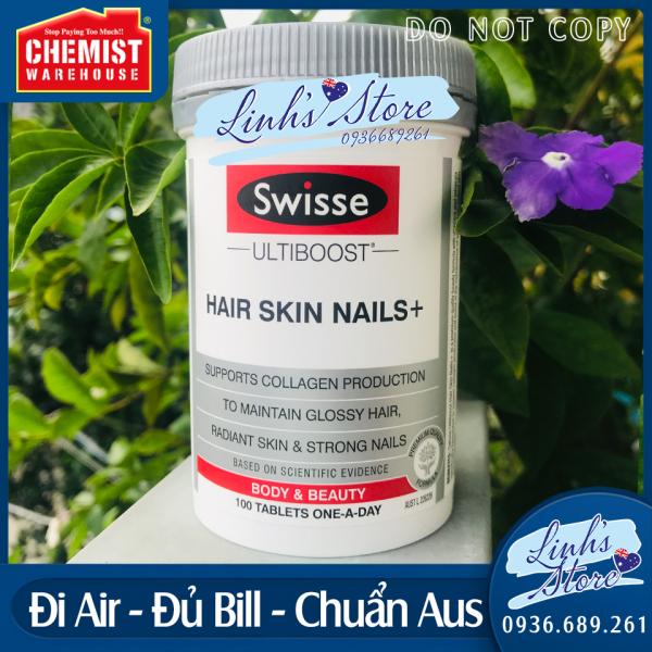 💥Viên uống đẹp da, tóc móng Swisse Hair Skin and Nails 💥 100 viên 💥 Chuẩn Chemist Warehouse - Úc 💥 giá rẻ