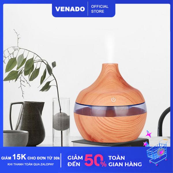 Máy phun sương tạo độ ẩm Led 7 màu Vân Gỗ 300ml hình giọt nước tự động tắt khi hết nước - Venado