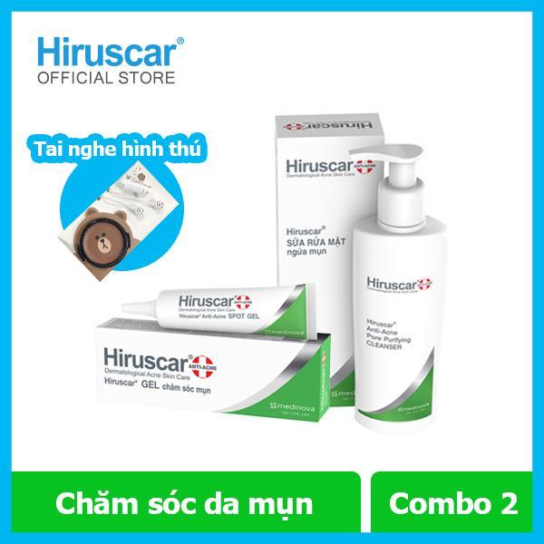 [Tặng 1 tai nghe hình thú] Combo Sữa rửa mặt ngừa mụn 100ml và Gel xử lý mụn 10g Hiruscar cao cấp